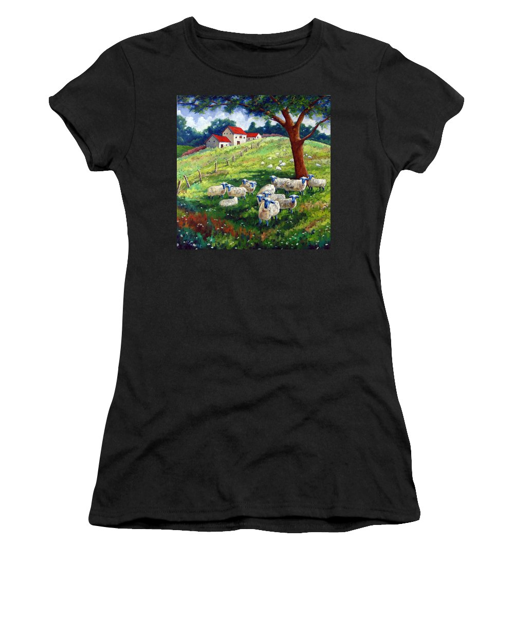 Sheep Women's T-Shirt (Athletic Fit) featuring the painting Sheeps In A Field by Richard T Pranke