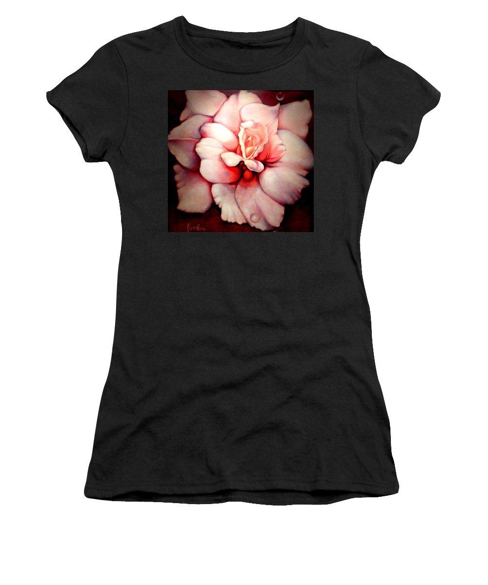 Blooms.large Rose Women's T-Shirt (Athletic Fit) featuring the painting Sheer Bliss by Jordana Sands