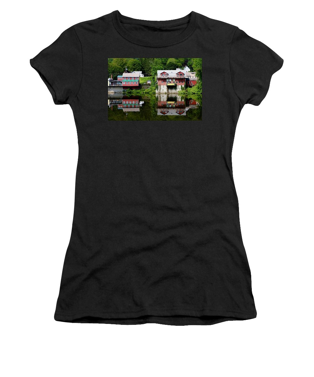 River Women's T-Shirt (Athletic Fit) featuring the photograph Shelburne Reflections by Dani Keating