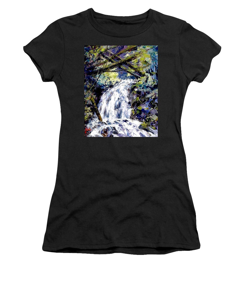 Landscape Women's T-Shirt featuring the painting Shepherds Dell Falls Coumbia Gorge Or by Jim Gola