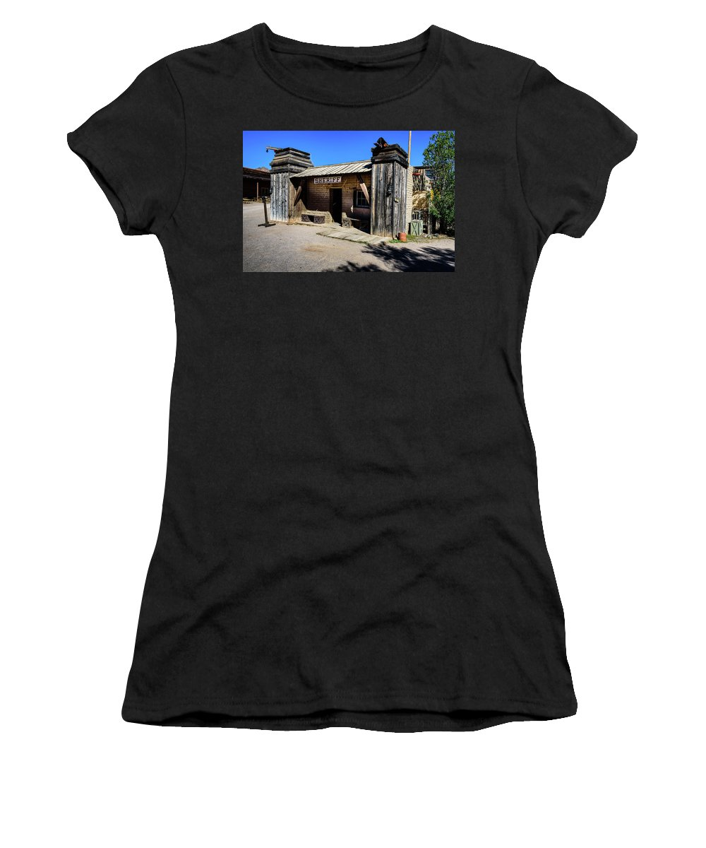 Old Tucson Women's T-Shirt (Athletic Fit) featuring the photograph Sheriff Office - Old Tucson by Jon Berghoff