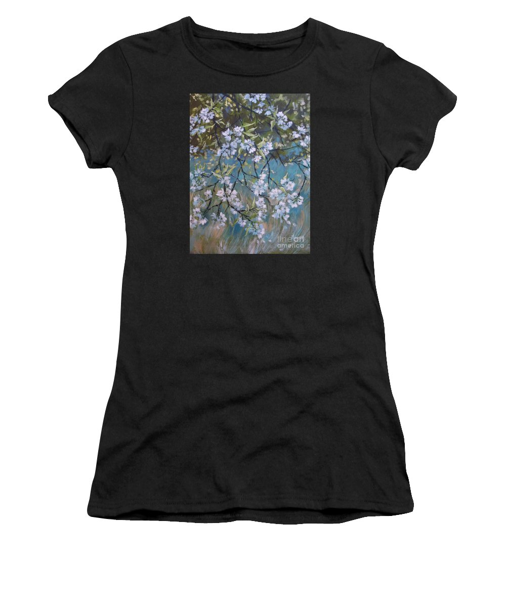 Spring Women's T-Shirt (Athletic Fit) featuring the painting Sherry Flower 1 by Cathy MONNIER