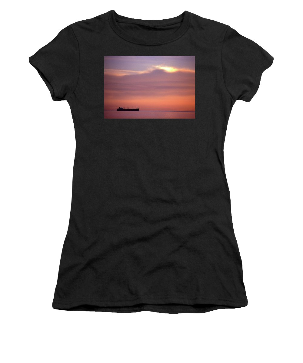 Cloud Women's T-Shirt (Athletic Fit) featuring the photograph Ship At Sea Two by Lyle Crump