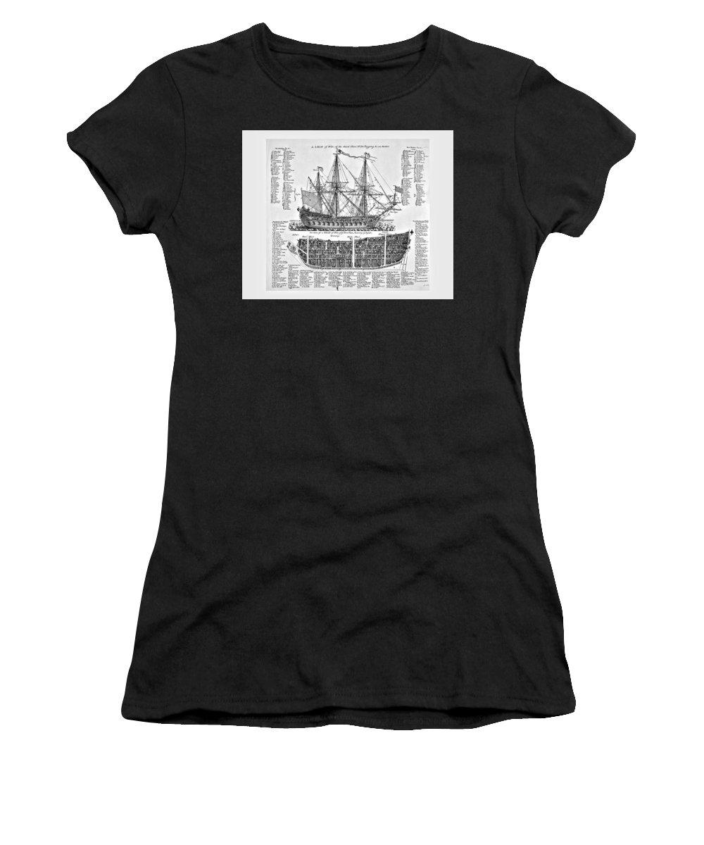 Plan Women's T-Shirt (Athletic Fit) featuring the digital art Ship Of War Plans by John Feiser