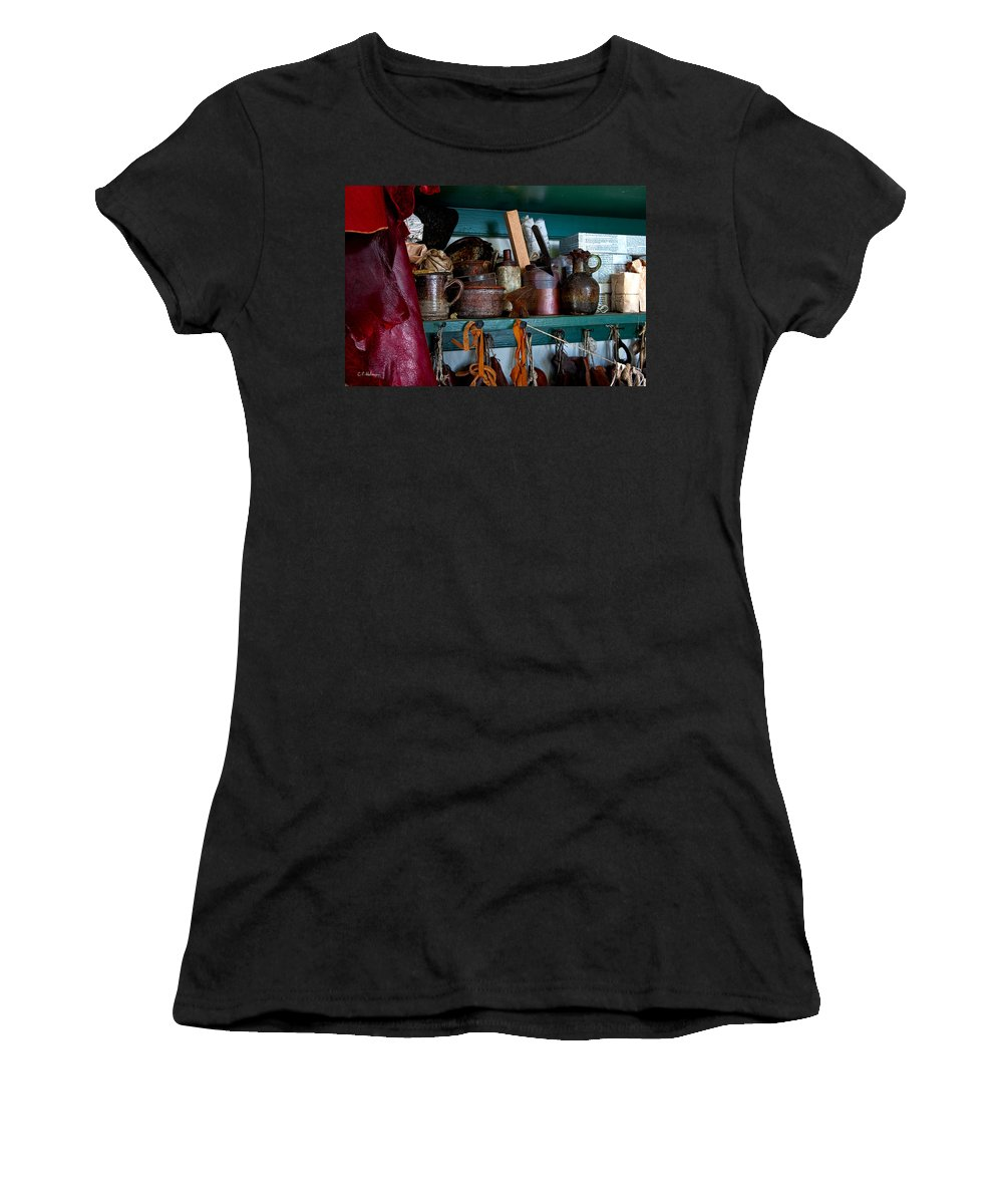 Cans Women's T-Shirt featuring the photograph Shoemaker Supplies by Christopher Holmes