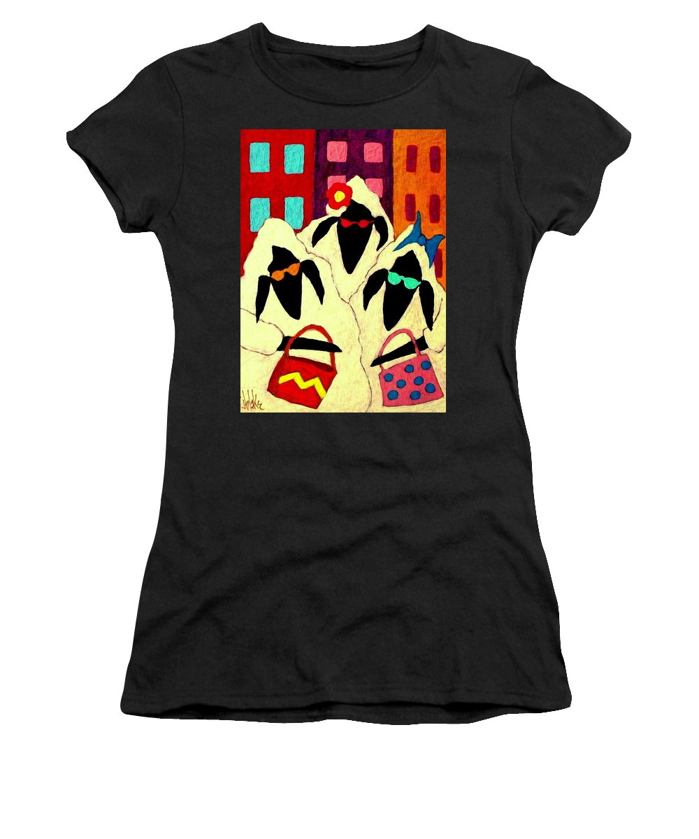 Sheep Women's T-Shirt (Athletic Fit) featuring the painting Shopping Sheep Divas by John Blake