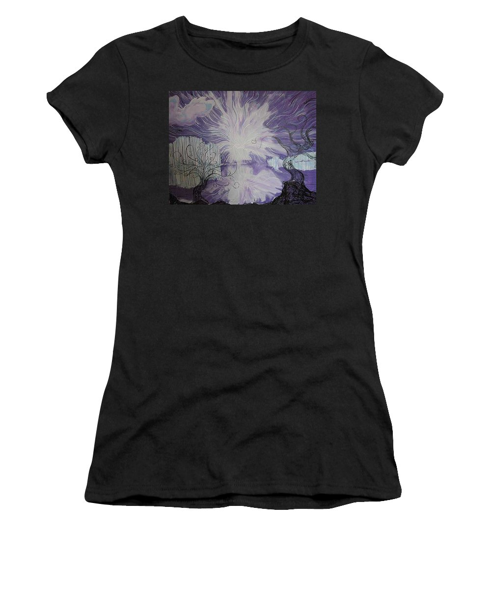 Squiggleism Women's T-Shirt (Athletic Fit) featuring the painting Shore Dance by Stefan Duncan
