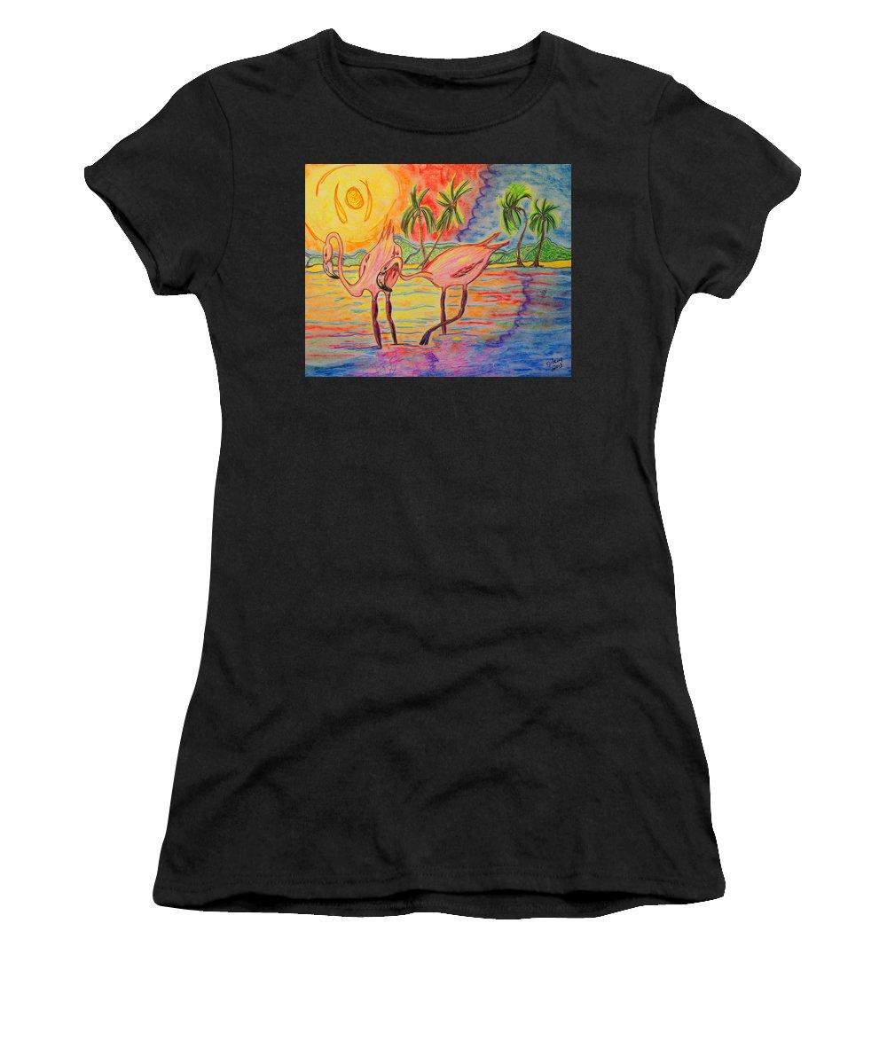 Terns Women's T-Shirt featuring the mixed media Shorebirds by W Gilroy