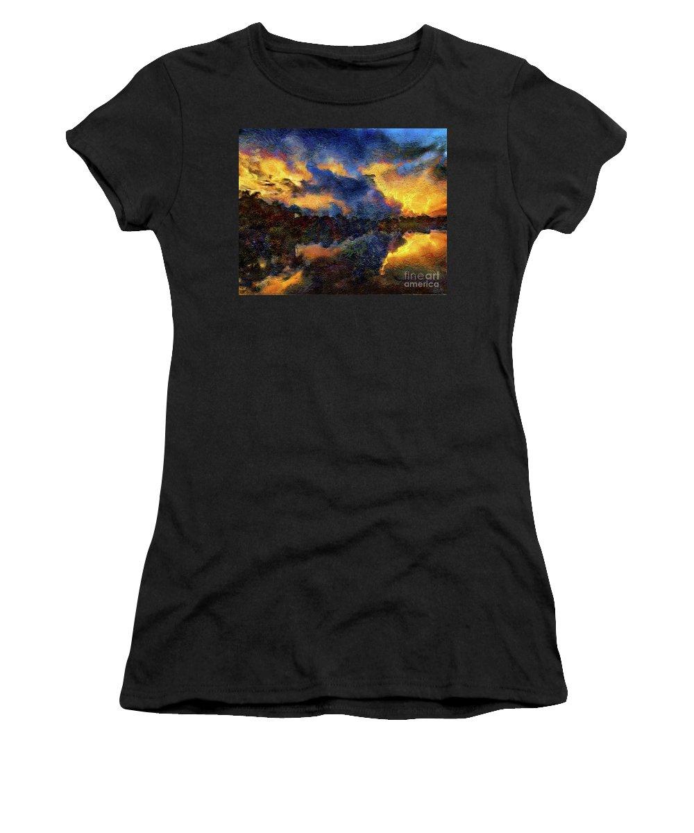 Sunrise Women's T-Shirt (Athletic Fit) featuring the photograph Shoreline Sunrise by Bill Piacesi