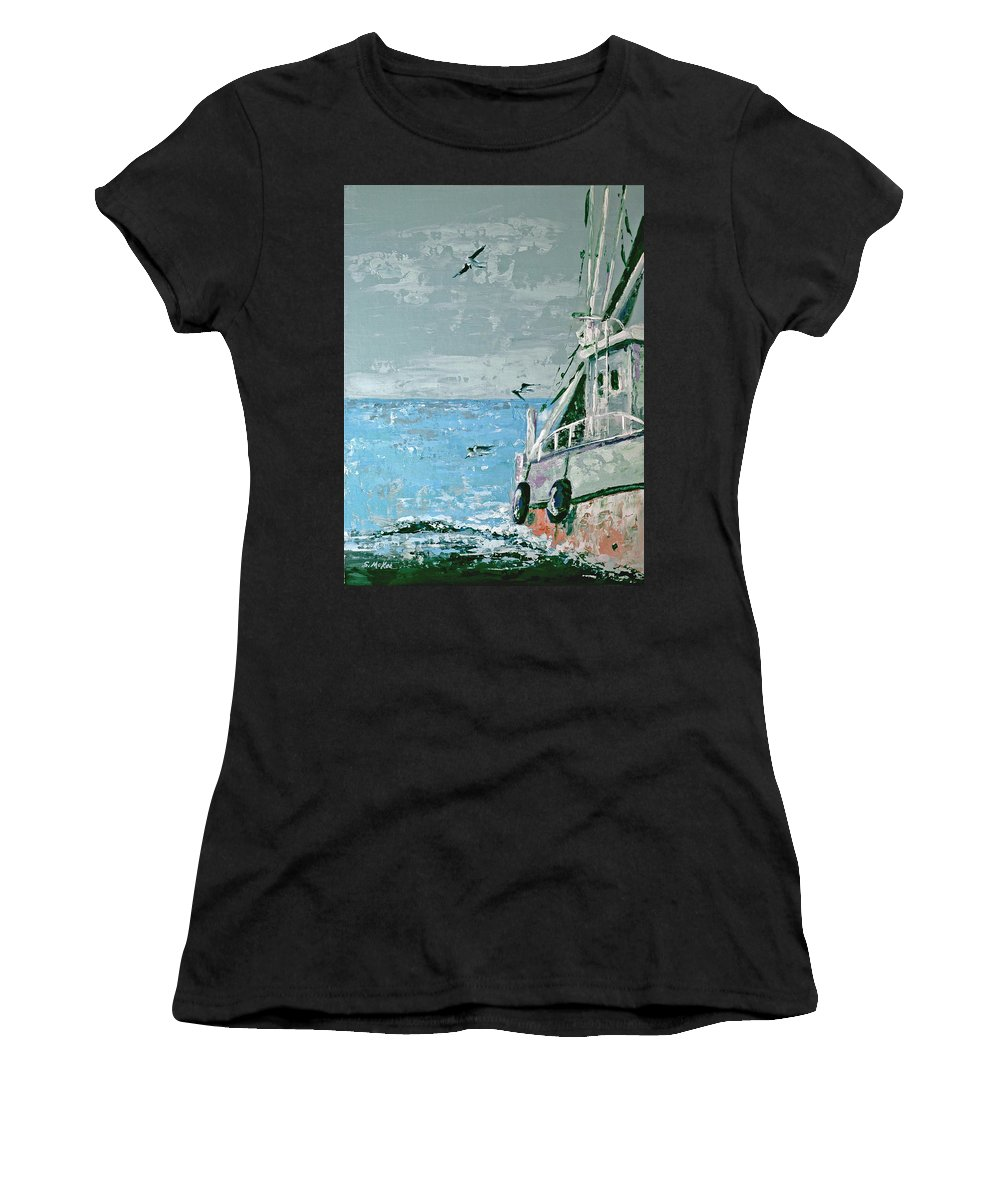 Acrylic Women's T-Shirt (Athletic Fit) featuring the painting Shrimp Boat In The Gulf by Suzanne McKee