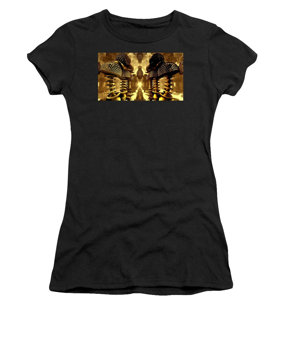 Mandelbulb Women's T-Shirt (Athletic Fit) featuring the digital art Shroom Ville by Carroll MacDonald
