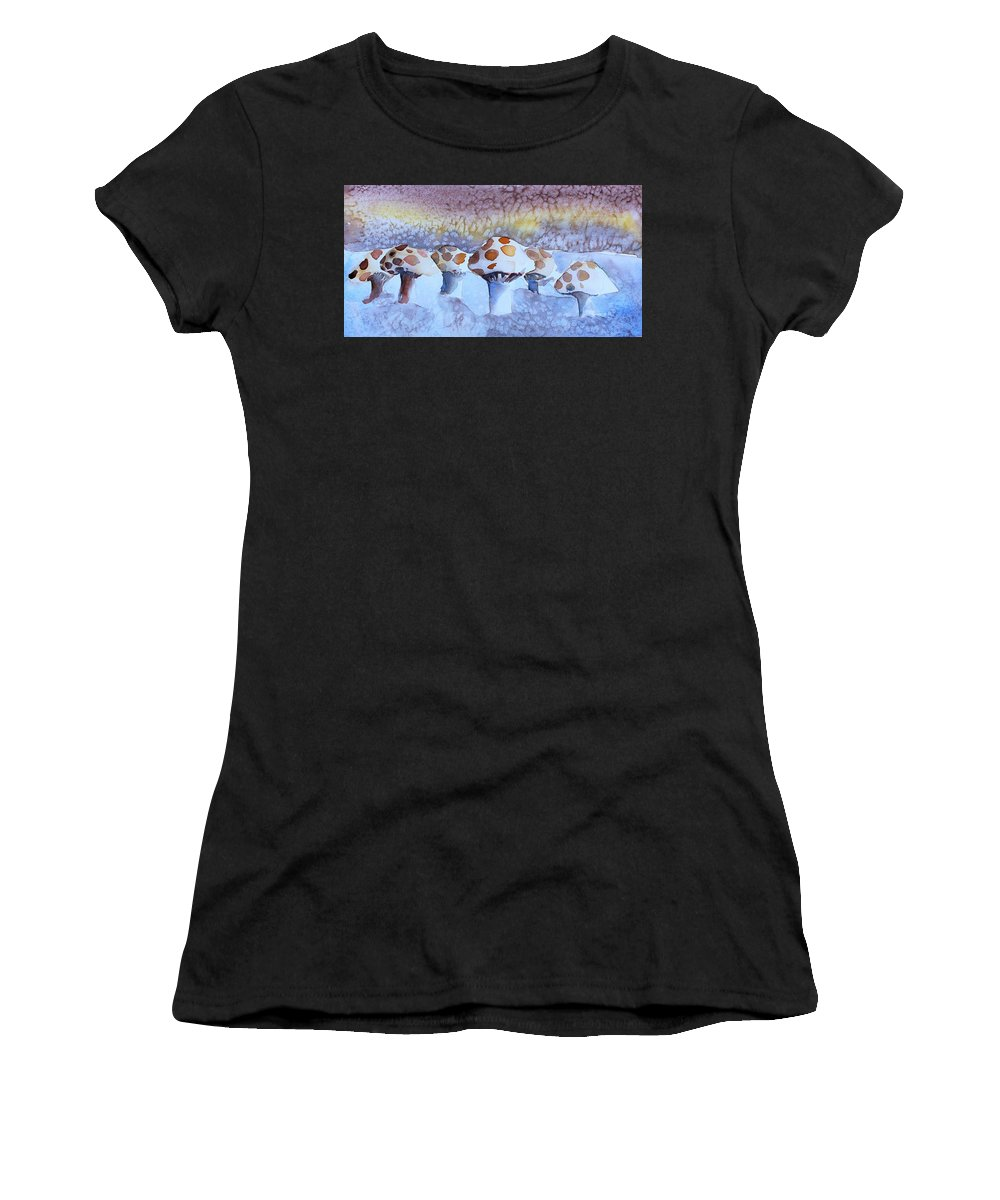 Mushroom Women's T-Shirt (Athletic Fit) featuring the painting Shrooms by Mindy Newman