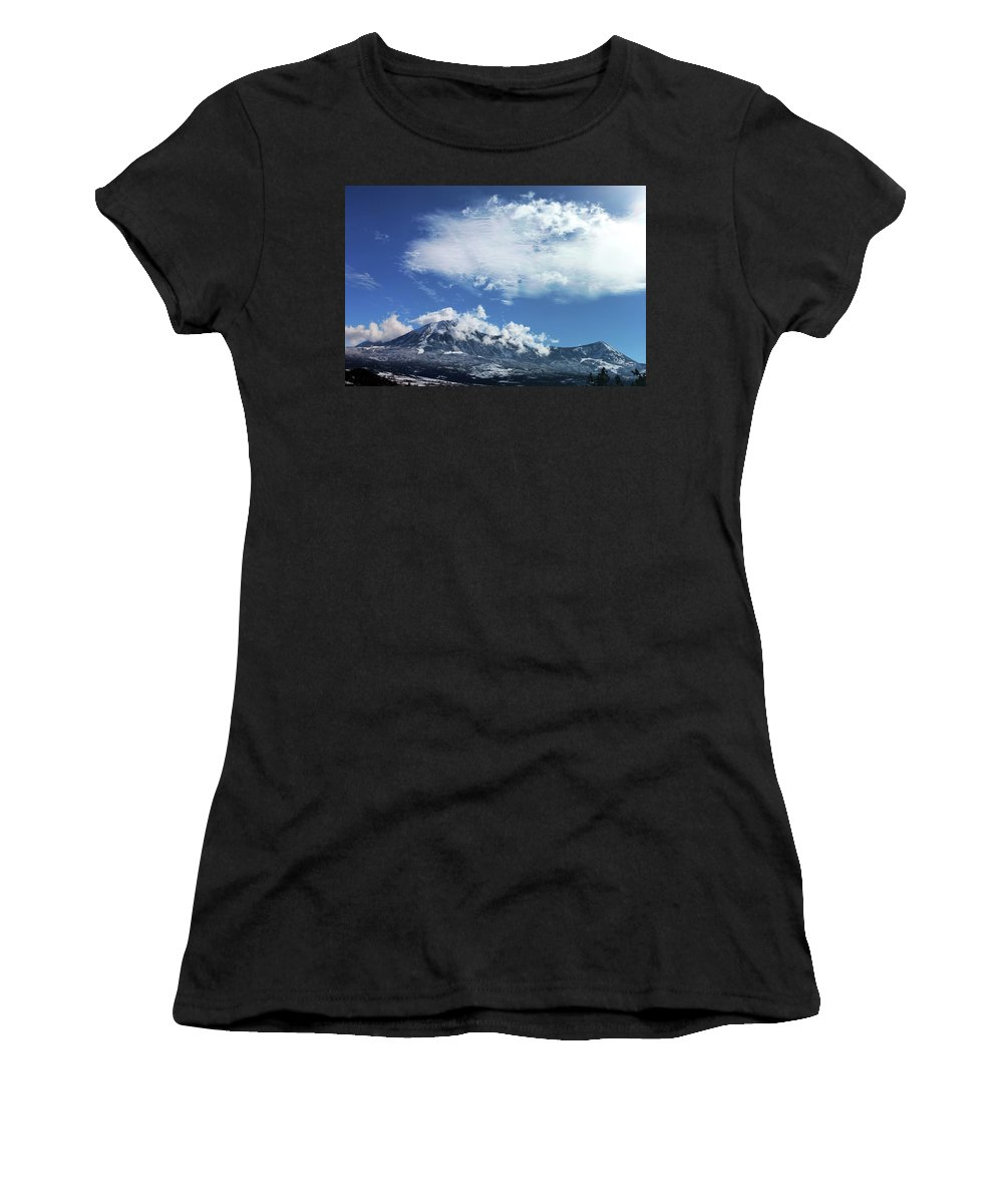 Mountains Women's T-Shirt (Athletic Fit) featuring the photograph Shrouded by Samantha Burrow