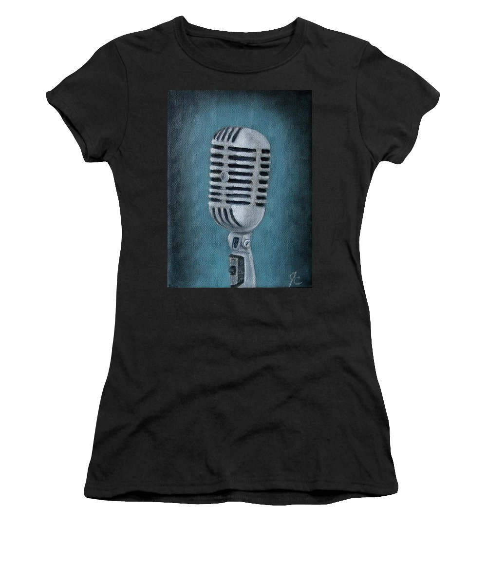 Shure Microphone Vintage Microphone Retro Microphone Old Microphone Art Deco Rock N Roll Blues Musical Instruments Music Audio Equipment Sound Vocals Singer Recording Home Decor Art Women's T-Shirt (Athletic Fit) featuring the painting Shure Thing by Jimmy Carender