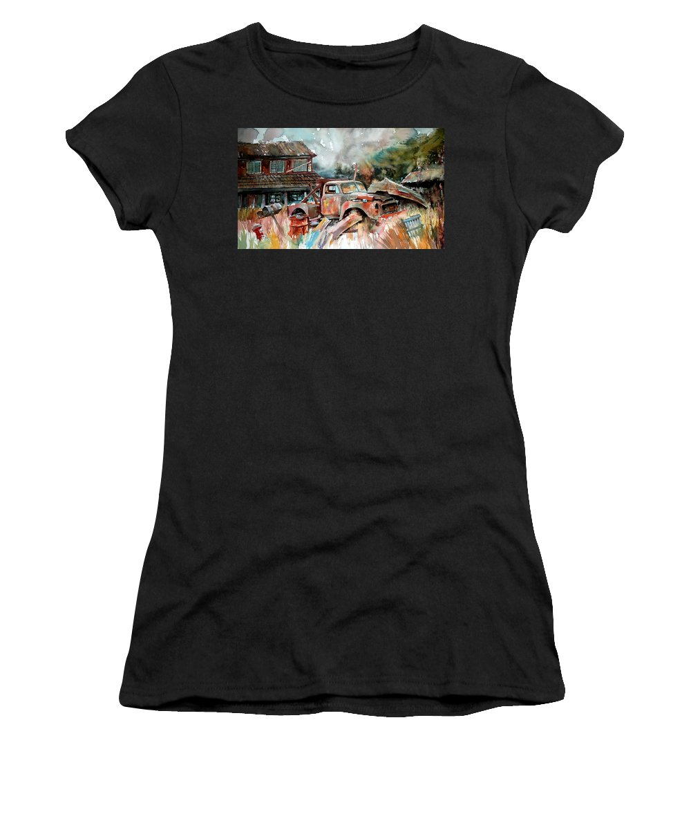 Truck Women's T-Shirt (Athletic Fit) featuring the painting Shuttered And Cluttered And Gone by Ron Morrison