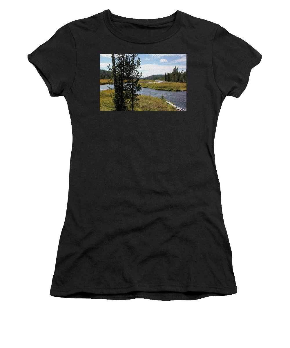 Outdoor Images Women's T-Shirt (Athletic Fit) featuring the photograph Sidewindin' Stream by Felipe Gomez
