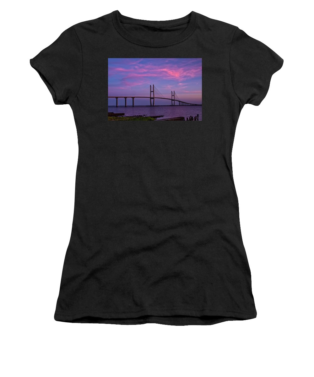 Cliff Middlebrook Women's T-Shirt (Athletic Fit) featuring the painting Sidney Lanier Bridge by Cliff Middlebrook