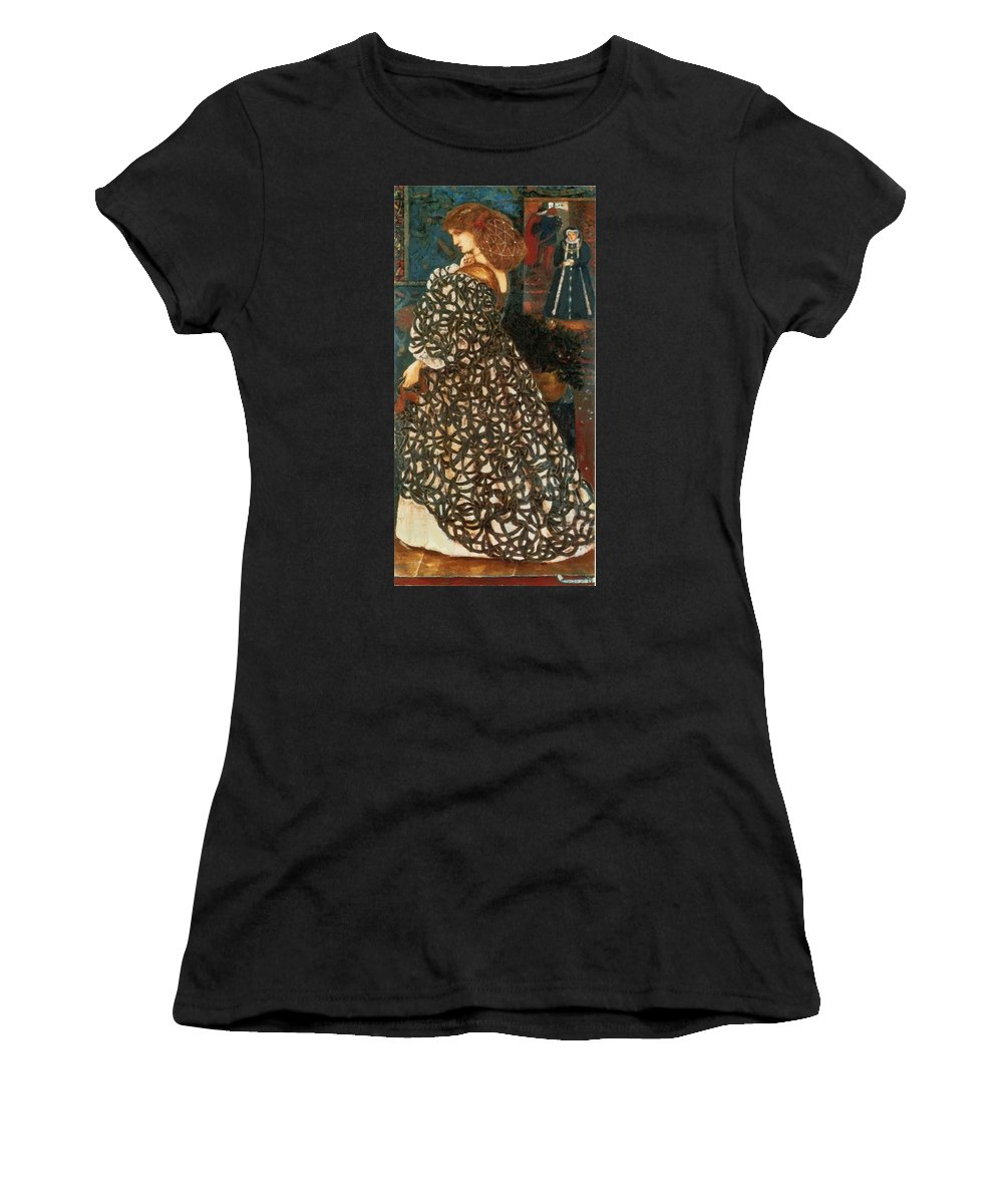 Sidonia Women's T-Shirt (Athletic Fit) featuring the painting Sidonia Von Bork 1849 by BurneJones Edward