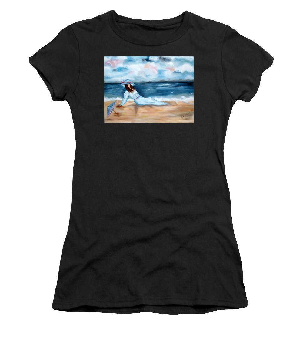 Ocean Women's T-Shirt featuring the painting Sight-seaing by Lynne Messeck