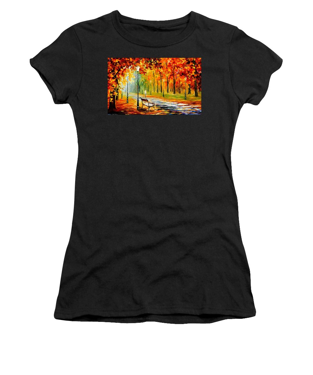 Afremov Women's T-Shirt featuring the painting Silence Of The Fall by Leonid Afremov