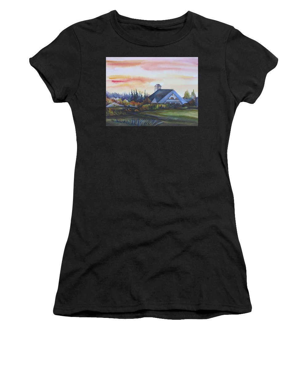 Watercolor Women's T-Shirt featuring the painting Silence Upon Midnapore by Anna Duyunova