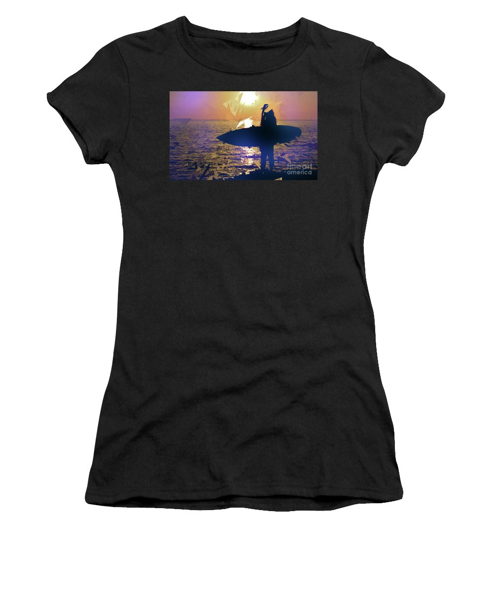 Summer Women's T-Shirt (Athletic Fit) featuring the digital art Silhouette Woman On Coast Holding Surfboard At Sunset by Giovanni Cancemi