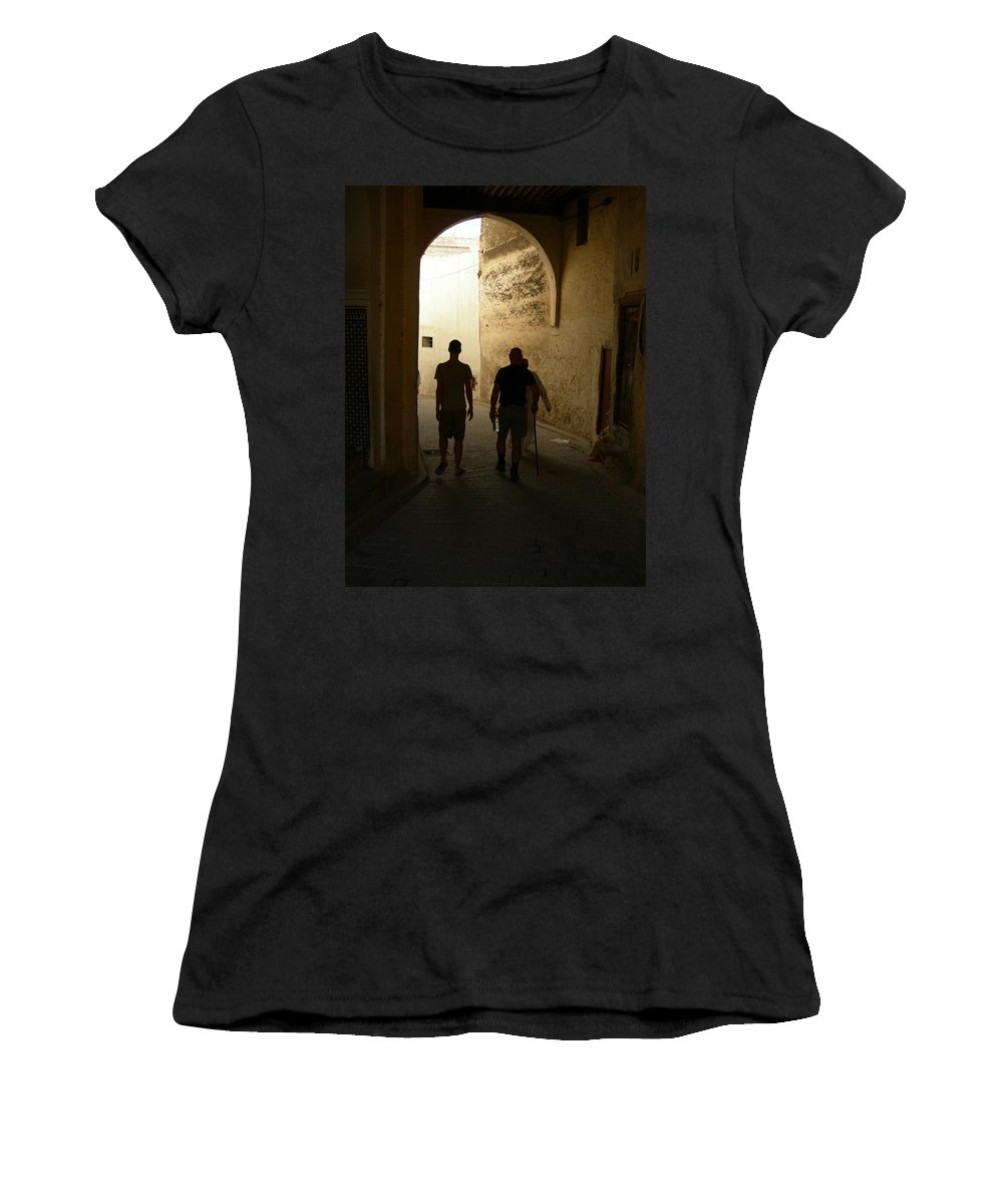 Silhouette Women's T-Shirt (Athletic Fit) featuring the photograph Silhouettes In Fez by Fay Lawrence