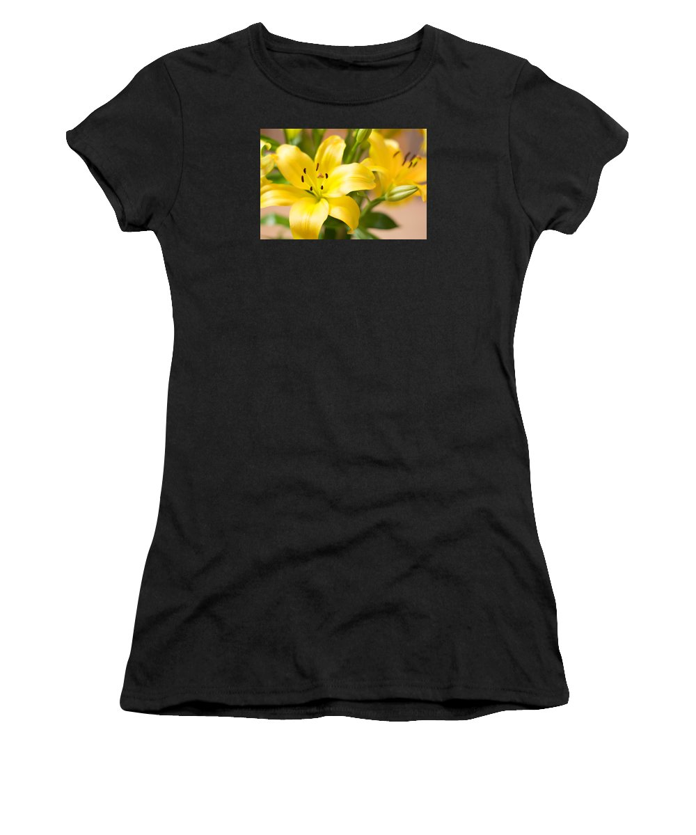 Floral Women's T-Shirt (Athletic Fit) featuring the photograph Silky Lilies by Ramil Redondo