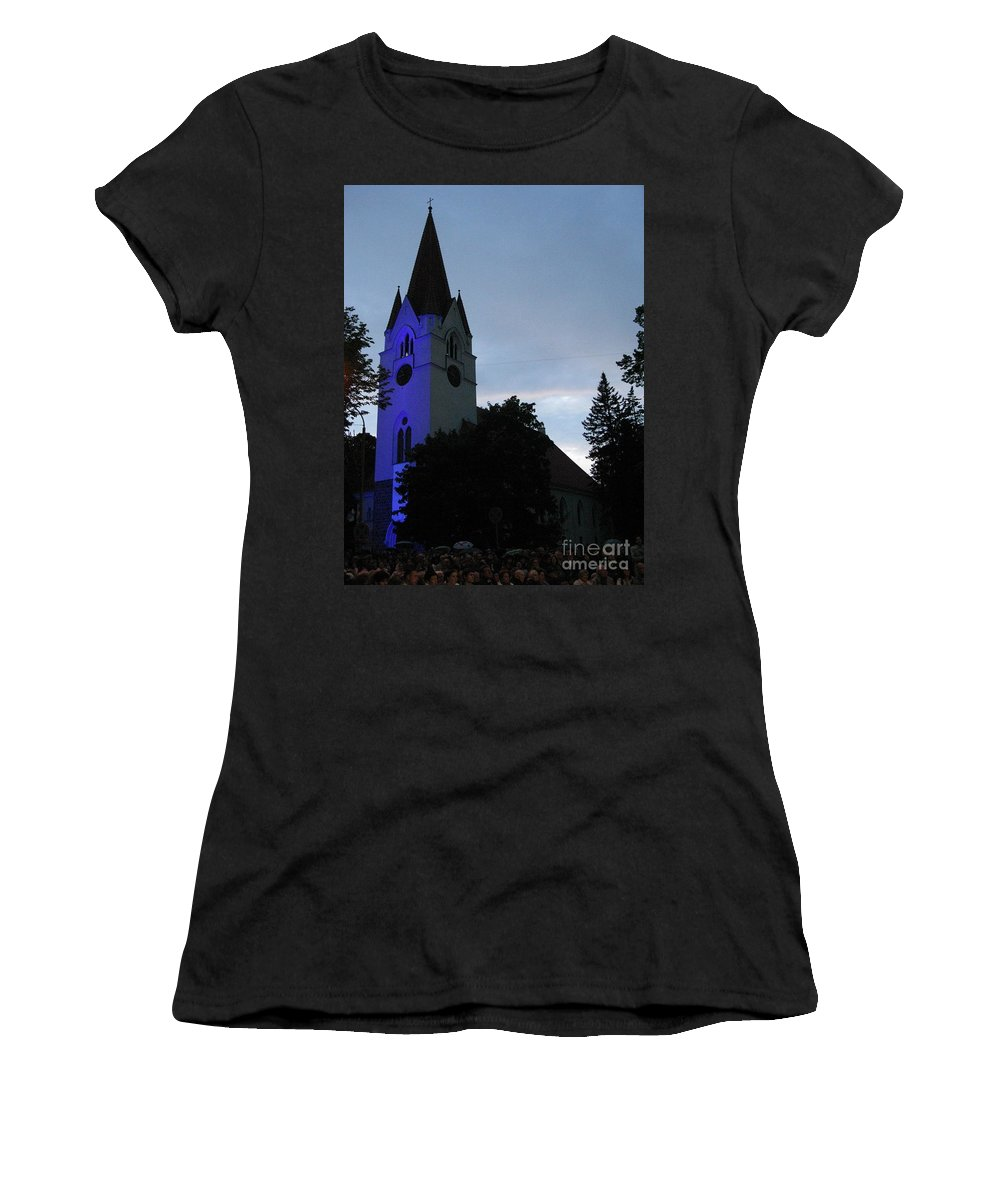 Silute Women's T-Shirt featuring the photograph Silute Lutheran Evangelic Church Lithuania 01 by Ausra Huntington nee Paulauskaite