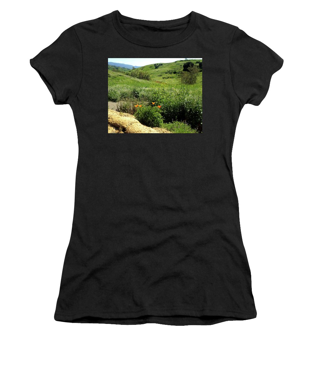 California Poppy Women's T-Shirt (Athletic Fit) featuring the photograph Silver And Green by Janice Sobien