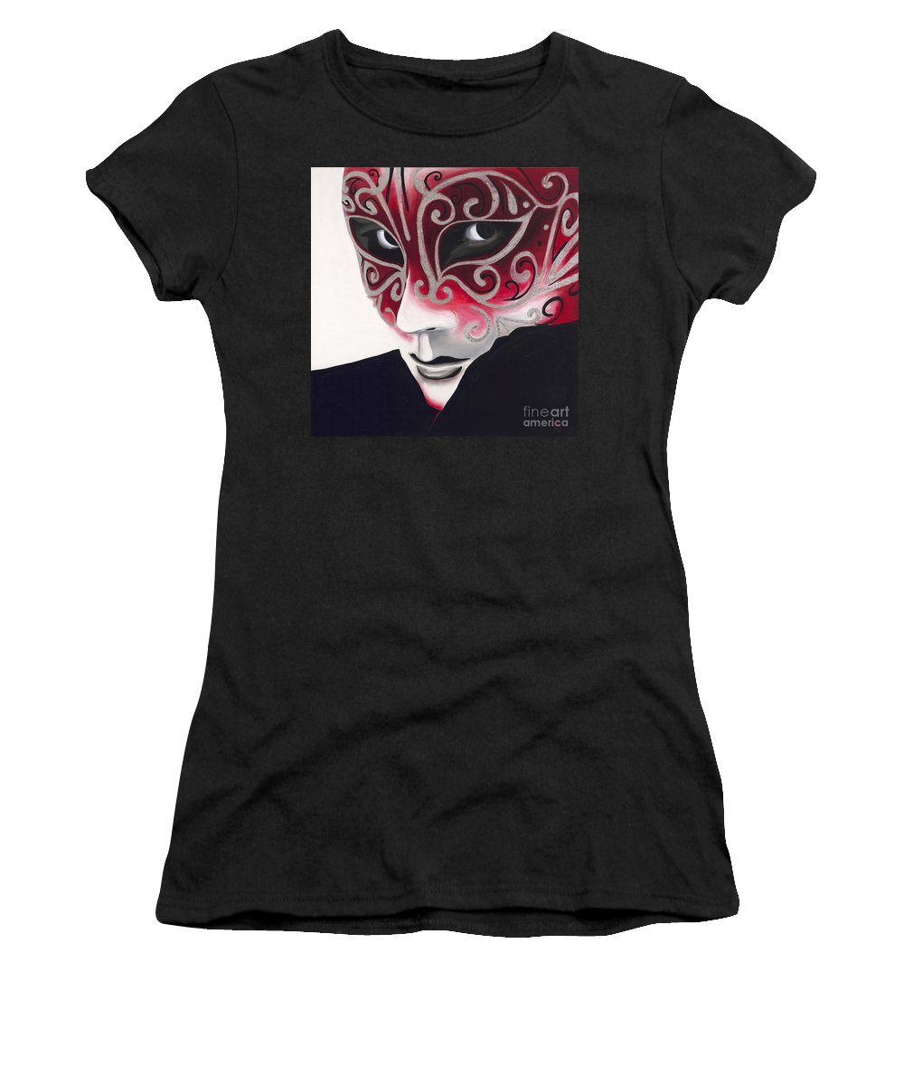 Sliver Women's T-Shirt (Athletic Fit) featuring the painting Silver Flair Mask by Patty Vicknair