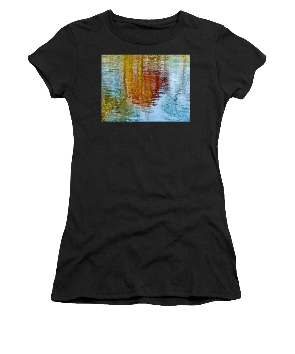 Silver Women's T-Shirt (Athletic Fit) featuring the photograph Silver Lake Autumn Reflections by Michael Bessler