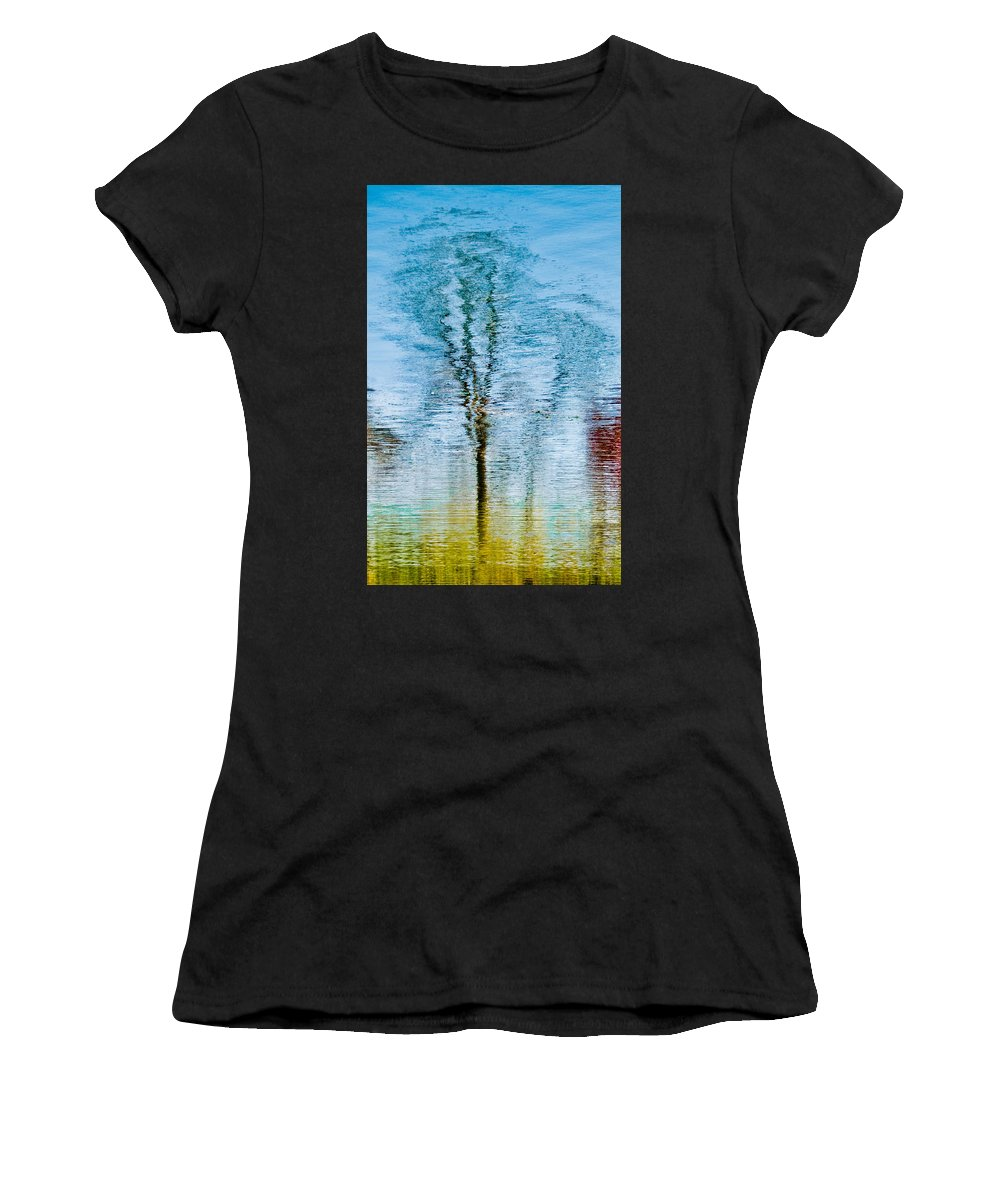 Silver Women's T-Shirt (Athletic Fit) featuring the photograph Silver Lake Tree Reflection by Michael Bessler