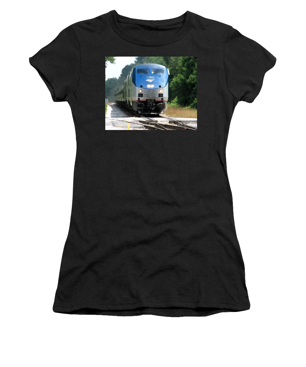 Train Women's T-Shirt (Athletic Fit) featuring the photograph Silver Meteor by Lesley Giles