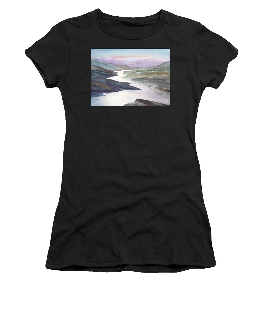 River Women's T-Shirt (Athletic Fit) featuring the painting Silver Stream by Ruth Kamenev