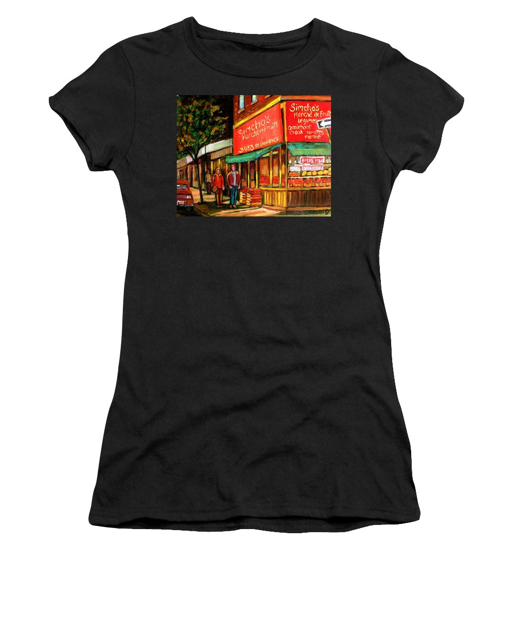Simchas Fruit Store Women's T-Shirt (Athletic Fit) featuring the painting Simchas Fruit Store by Carole Spandau