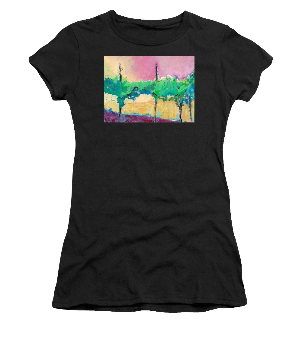 Vineyard Women's T-Shirt (Athletic Fit) featuring the painting Simpatico by Kurt Hausmann