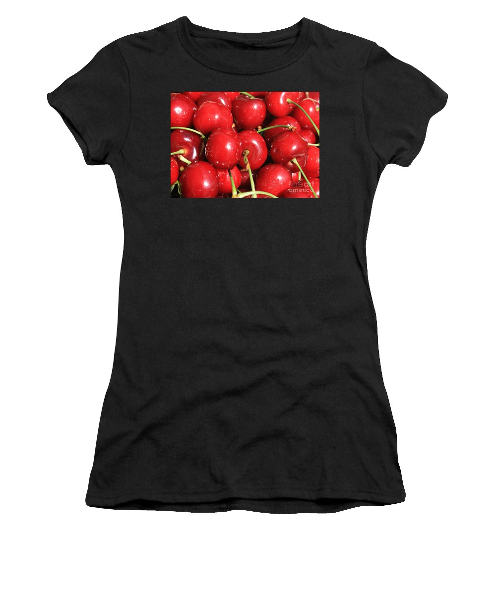 Cherries Women's T-Shirt (Athletic Fit) featuring the photograph Simply Cherries by Carol Groenen