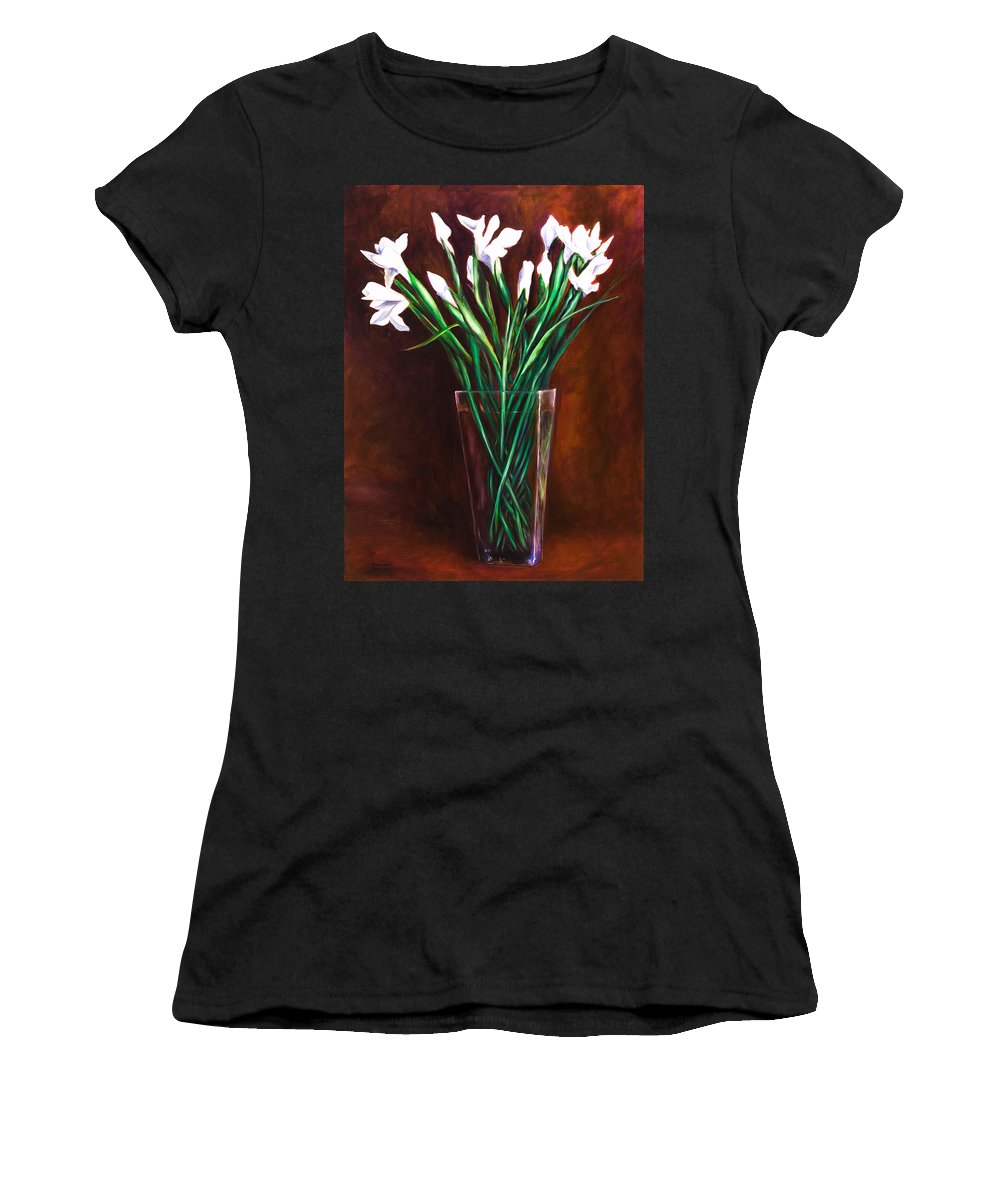 Iris Women's T-Shirt featuring the painting Simply Iris by Shannon Grissom