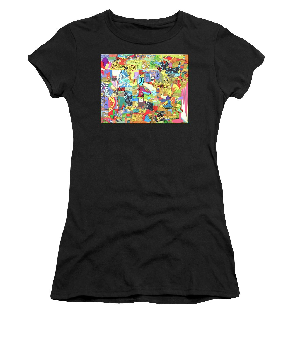Comic Book Cut-up Nate Henricks 2016 Women's T-Shirt featuring the mixed media Simultaneous Dimensions #2 by Nate Henricks