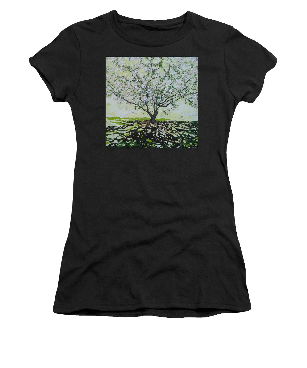 Apple Tree Women's T-Shirt (Athletic Fit) featuring the painting Sincerely-the Curator by Leah Tomaino