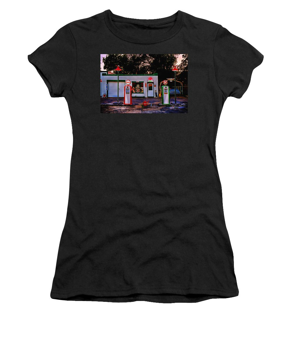 Gas Station Women's T-Shirt (Athletic Fit) featuring the photograph Sinclair by Steve Karol