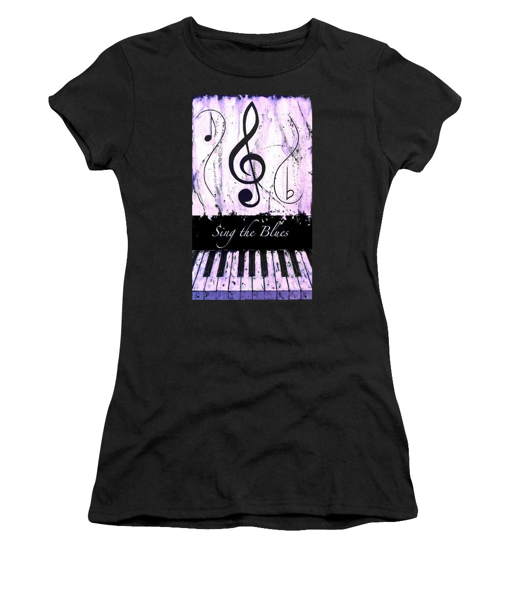 Sing The Blues Purple Women's T-Shirt (Athletic Fit) featuring the mixed media Sing The Blues Purple by Wayne Cantrell