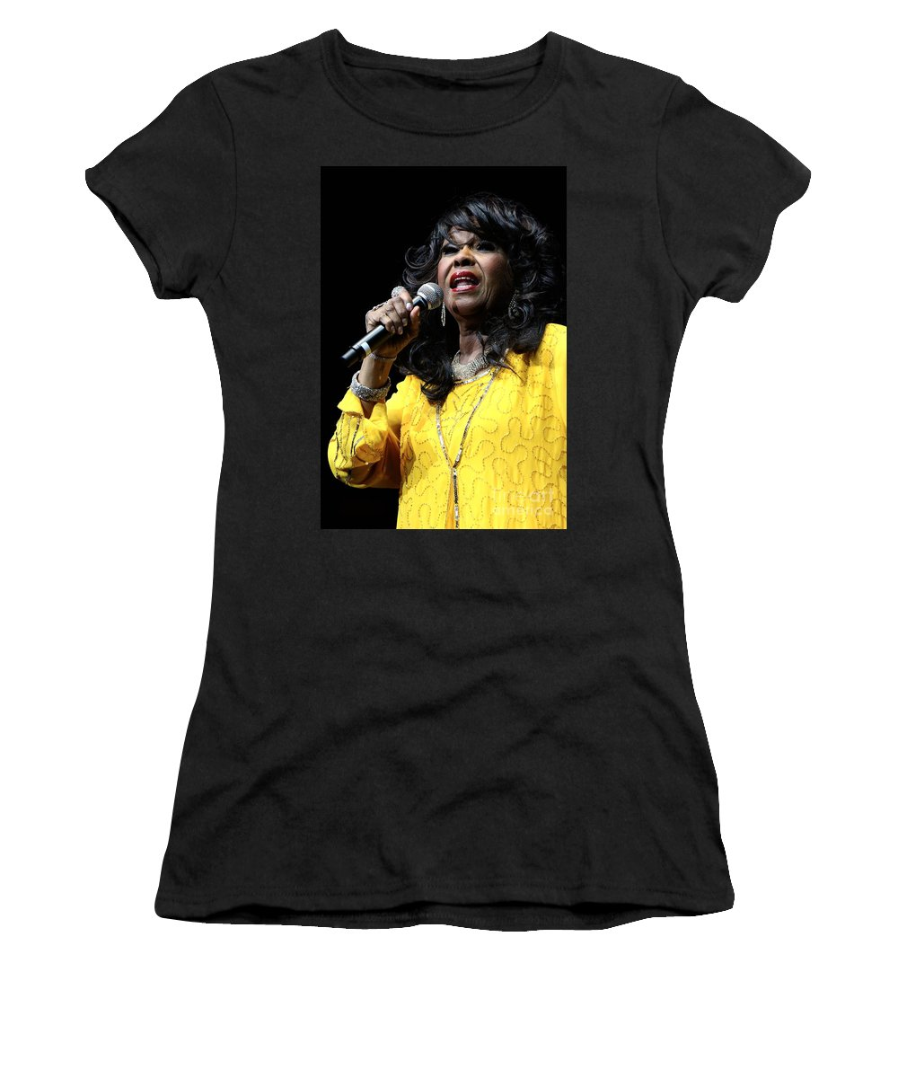 Singer Women's T-Shirt featuring the photograph Singer Shirley Alston Reeves by Concert Photos