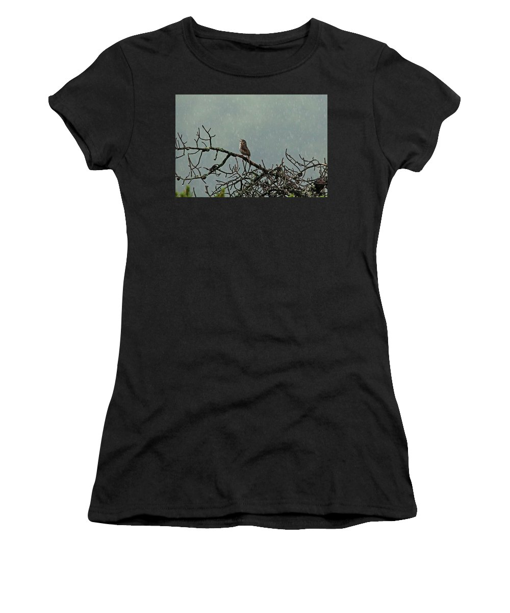 Sparrows Women's T-Shirt (Athletic Fit) featuring the photograph Singing In The Rain by Debbie Oppermann