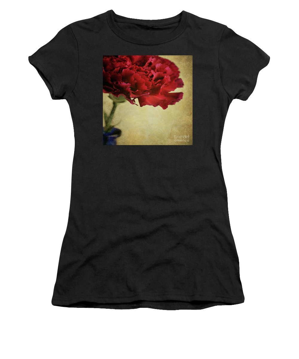 Carnation Women's T-Shirt (Athletic Fit) featuring the photograph Single Dark Red Carnation In Blue Bottle by Lyn Randle