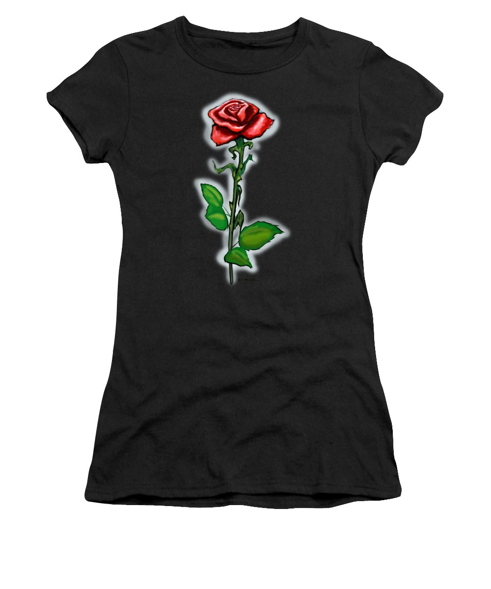 Rose Women's T-Shirt (Athletic Fit) featuring the painting Single Red Rose by Kevin Middleton