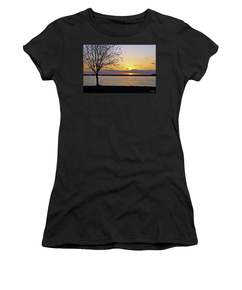 Sunset Women's T-Shirt (Athletic Fit) featuring the photograph Sinking Sun by Phill Doherty