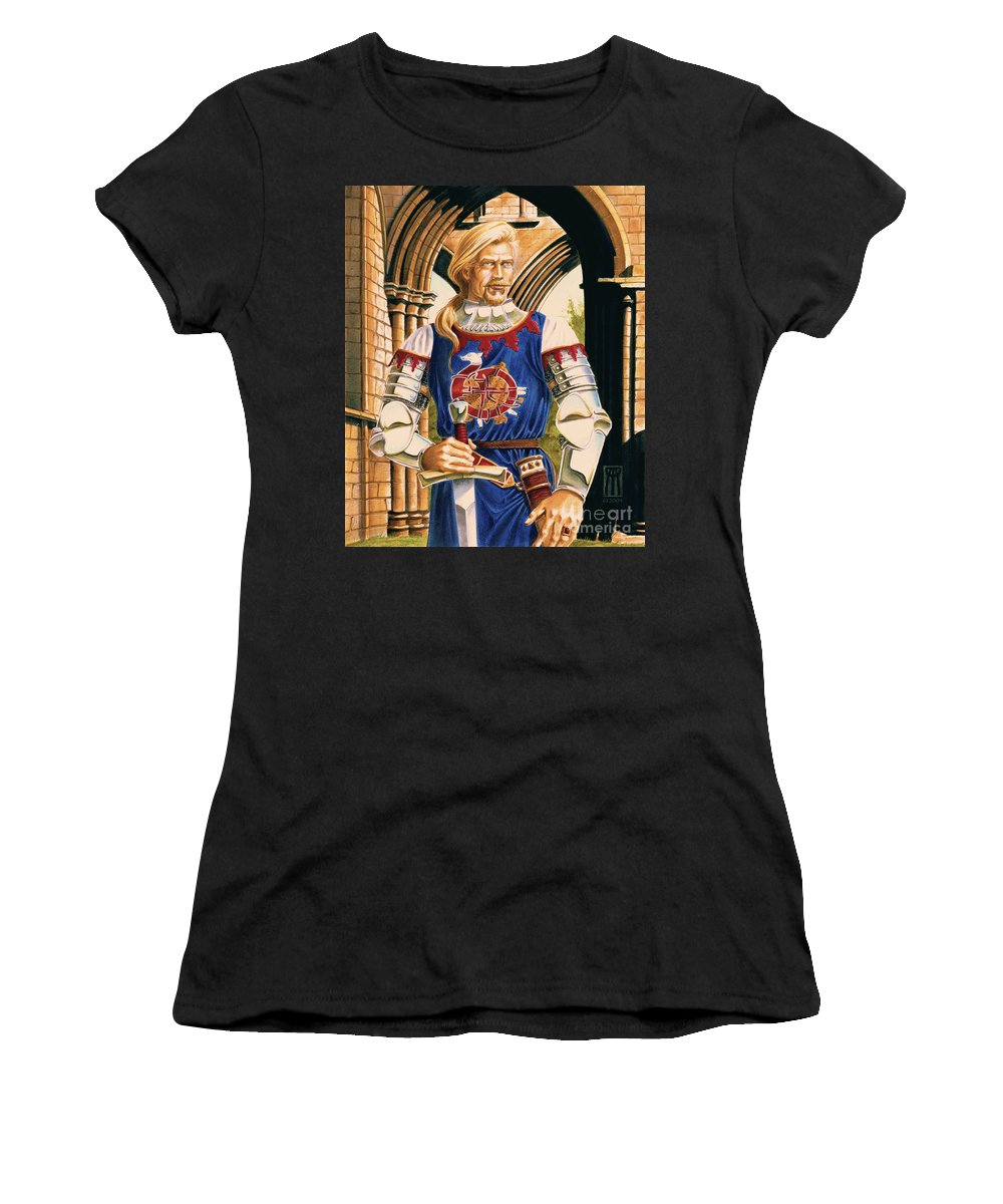 Swords Women's T-Shirt (Athletic Fit) featuring the painting Sir Dinadan by Melissa A Benson