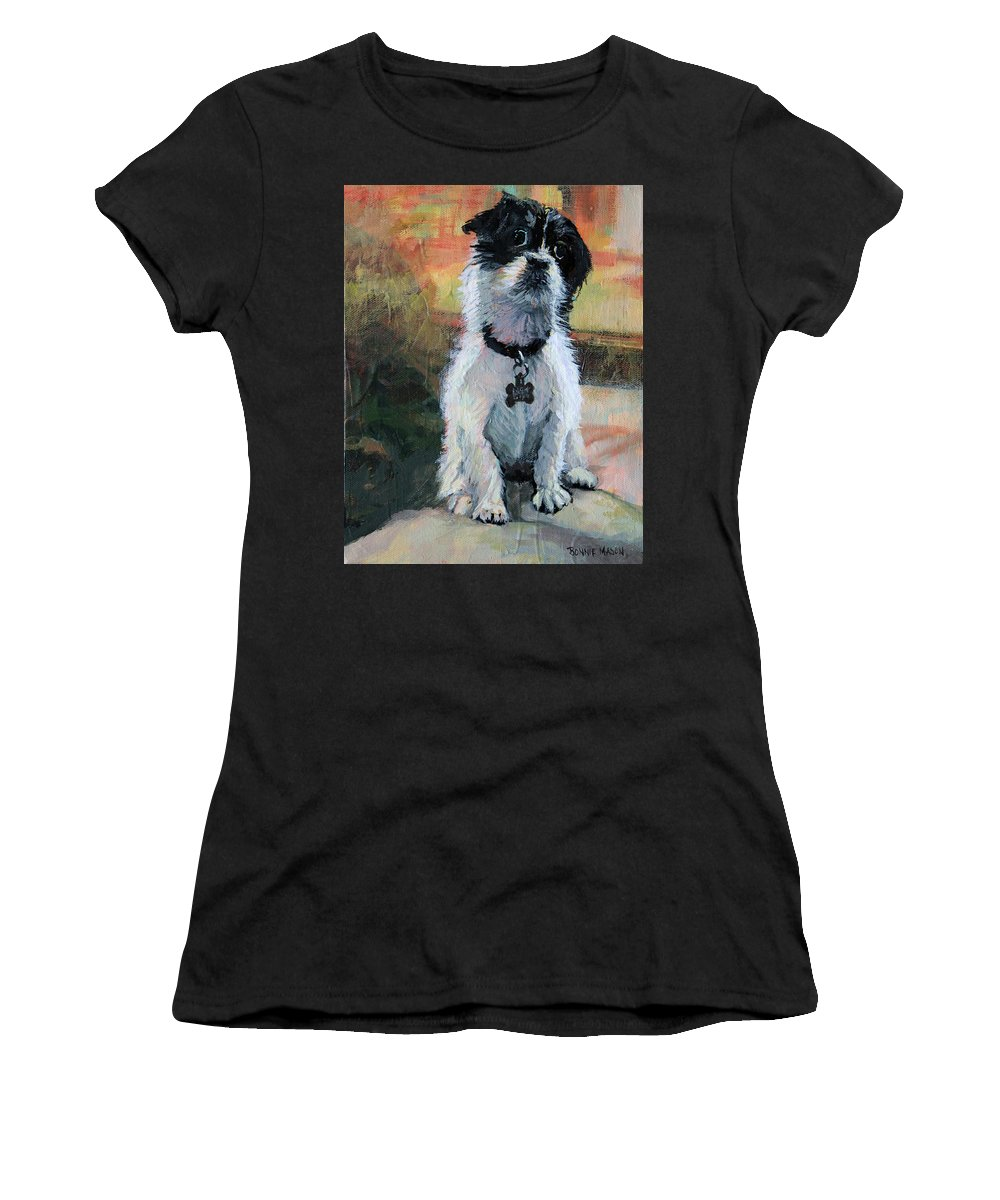 Dog Women's T-Shirt (Athletic Fit) featuring the painting Sitting Pretty - Black And White Puppy by Bonnie Mason